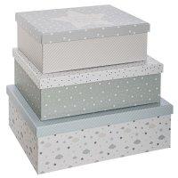 Lot de 3 boîtes de rangement gris