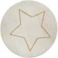 Tapis de chambre rond beige étoile lurex doré