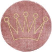 Tapis rond rose couronne lurex doré