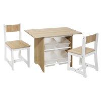 Table bacs avec 2 chaises bois