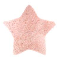 Tapis de chambre fourrure étoile rose