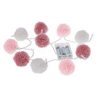 Guirlande led pompons rose