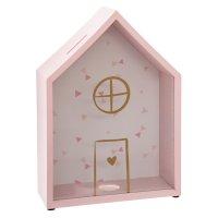 Tirelire forme maison rose
