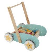 Chariot de marche en bois avec 40 blocs de construction