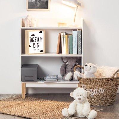 Bibliothèque 3 étages blanc et pied bois Atmosphera for kids