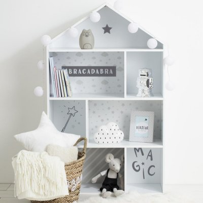 Etagère forme maison grise Atmosphera for kids