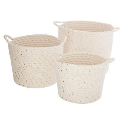 Lot de 3 paniers coton lurex beige Atmosphera for kids