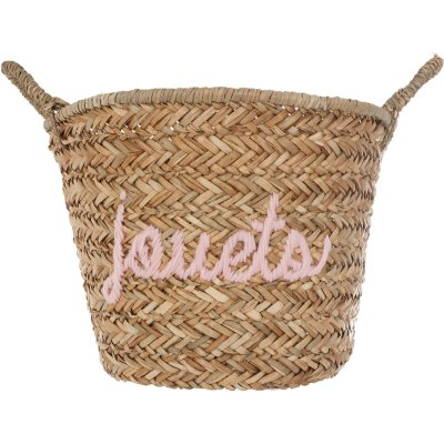 Panier osier broderie rose Atmosphera for kids