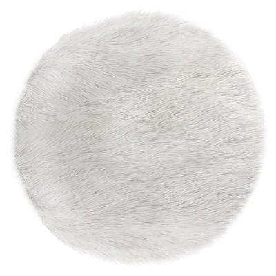 Tapis de chambre fourrure rond blanc Atmosphera for kids