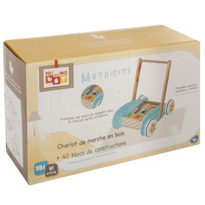 Chariot de marche en bois avec 40 blocs de construction Atmosphera for kids