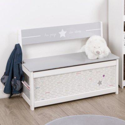 Coffre à jouet banc blanc étoiles Atmosphera for kids