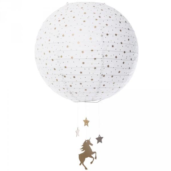 Suspension bébé lanterne en papier licorne