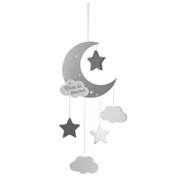 Suspension lune gris