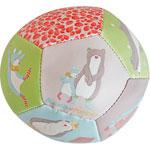 Jouet d'éveil bébé ballon souple 10 cm biscotte et pompon pas cher