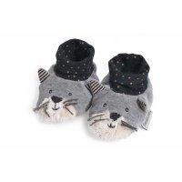 Chaussons bébé chat gris clair fermand les moustaches