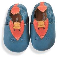 Chaussons en cuir bleu les tartempois