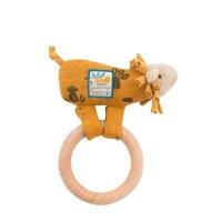 Hochet avec anneau en bois lion sous mon baobab