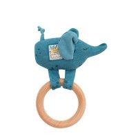 Hochet avec anneau en bois éléphant sous mon baobab