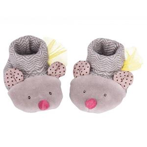 Chaussons bébé souris gris les pachats