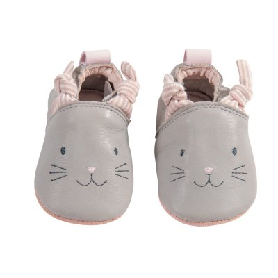 Chaussons cuir gris les petits dodos Moulin roty