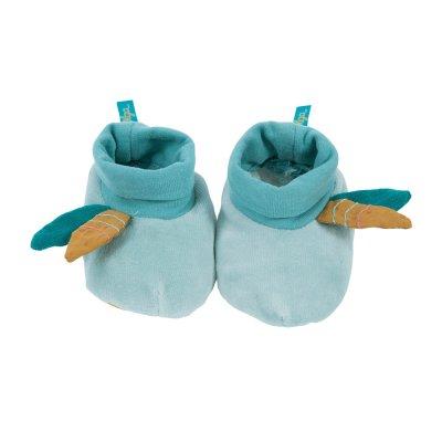 Chaussons bébé bleus le voyage d'olga Moulin roty