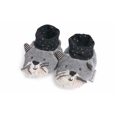 Chaussons bébé chat gris clair fermand les moustaches Moulin roty