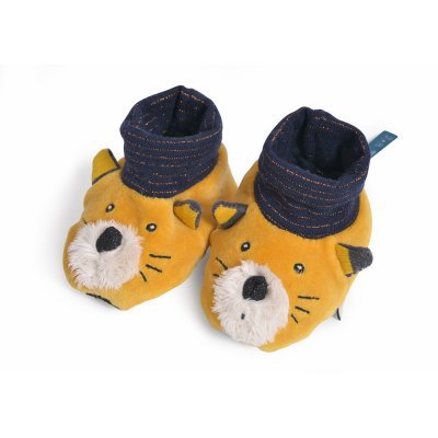 Chaussons bébé chat moutarde lulu les moustaches Moulin roty