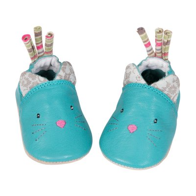 Chaussons en cuir chat bleu les pachats Moulin roty