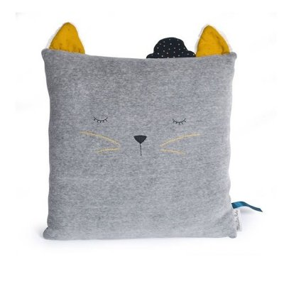 Coussin chat gris clair les moustaches Moulin roty