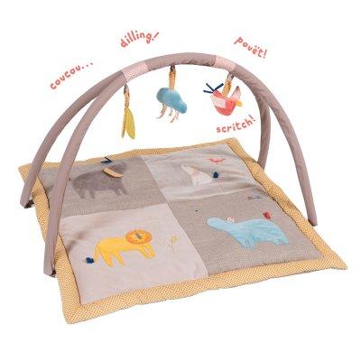 Tapis d'éveil avec arche d'activités les papoums Moulin roty