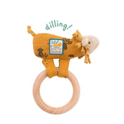 Hochet avec anneau en bois lion sous mon baobab Moulin roty