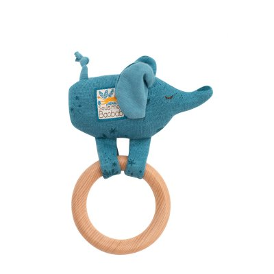 Hochet avec anneau en bois éléphant sous mon baobab Moulin roty