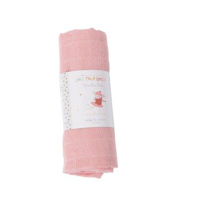 Lange bébé rose 70x70cm les jolis trop beaux Moulin roty