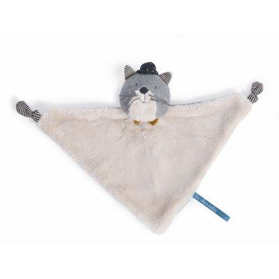 Doudou chat gris clair fernand les moustaches Moulin roty