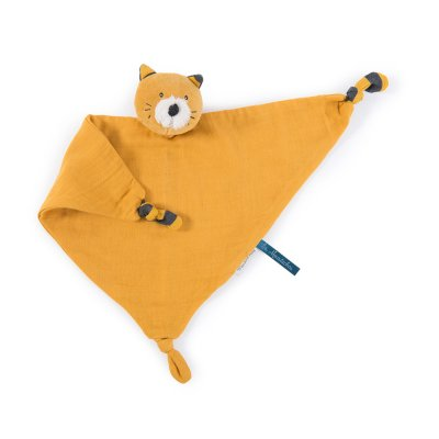 Doudou lange chat moutarde les moustaches Moulin roty