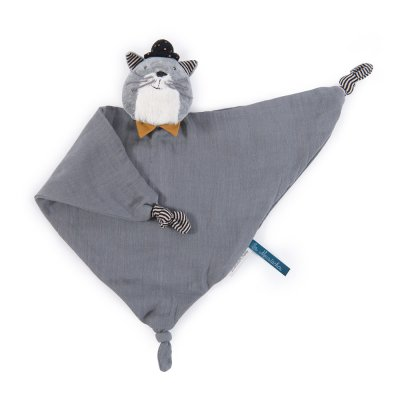 Doudou lange chat gris clair les moustaches Moulin roty