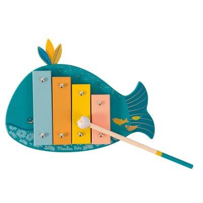 Jouet d'éveil bébé xylophone baleine le voyage d'olga Moulin roty