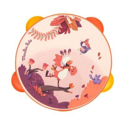Jouet d'éveil bébé tambourin corail dans la jungle Moulin roty