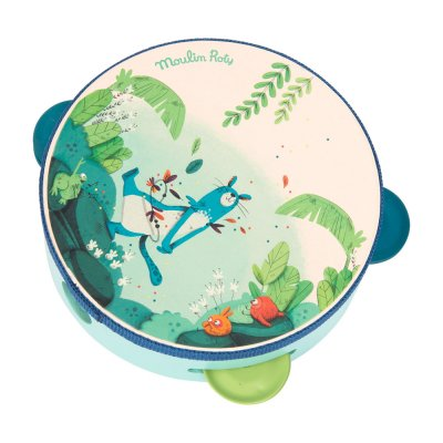 Jouet d'éveil bébé tambourin bleu dans la jungle Moulin roty