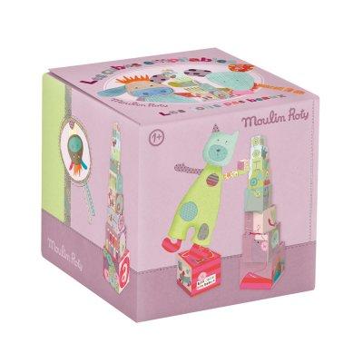Jouet d'éveil bébé cubes empilables les jolis pas beaux Moulin roty