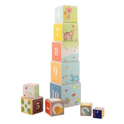 Jouet d'éveil bébé cubes empilables les papoums Moulin roty