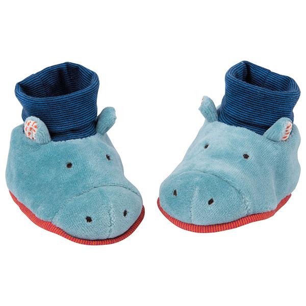 Chaussons bébé hippopotame les papoum Moulin roty