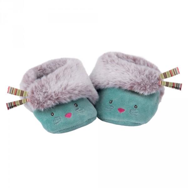 Chaussons bébé bleus chat les pachats Moulin roty