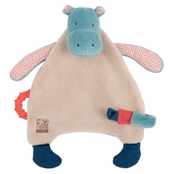 Doudou attache sucette hippopotame les papoum Moulin roty