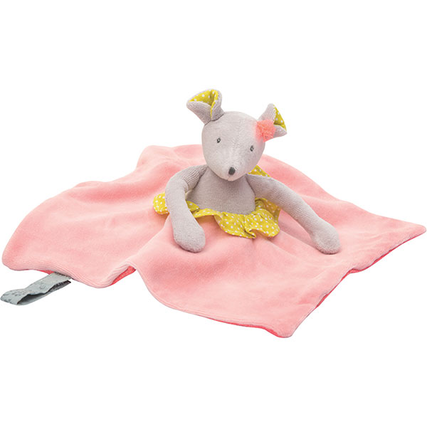 Doudou attache tétine souris mademoiselle et ribambelle Moulin roty