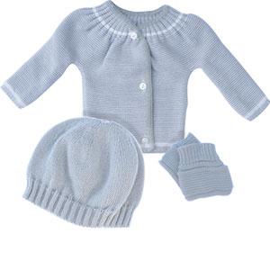 Ensemble bébé braissère + bonnet + chaussons gris/blanc