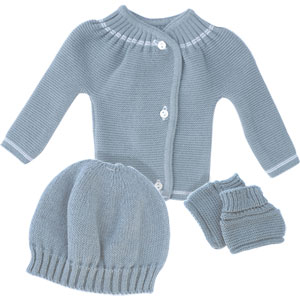 Ensemble bébé brassière + bonnet + chaussons gris pur
