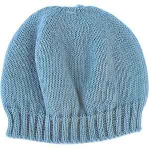 Bonnet bébé sans couture bleu ourson