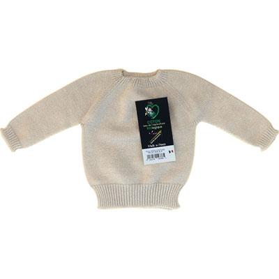 Pull sans couture ecru 100% coton bio Mlt