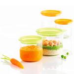 4 p'tits pots de conservation 150 ml + 300 ml vert et orange pas cher